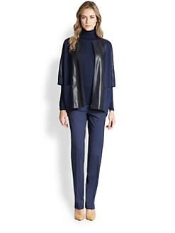 Lafayette 148 New York - Ponte Leather-Detail Jacket