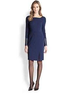Lafayette 148 New York - Ponte Leather-Detail Dress