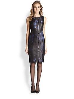 Lafayette 148 New York - Angelina Leather-Contrast Dress