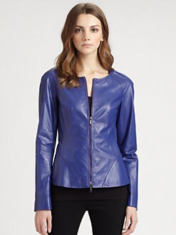 Lafayette 148 New York - Collarless Leather Jacket