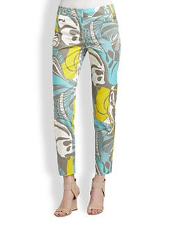 Lafayette 148 New York - Ibiza-Print Slim Ankle Pants