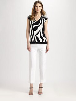 Lafayette 148 New York - Zebra-Jacquard Knit Top