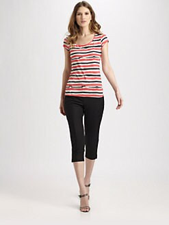 Lafayette 148 New York - Striped Crisscross-Back Tee