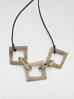Lafayette 148 New York - Wood Resin-Link Leather Necklace