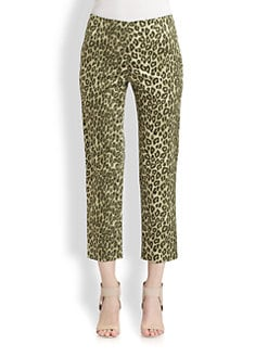 Lafayette 148 New York - Silk Printed Cropped Bleeker Pants