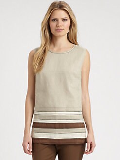 Lafayette 148 New York - Striped-Hem Linen Top