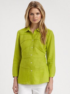 Lafayette 148 New York - Seamed Linen Blouse