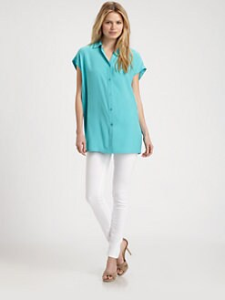 Lafayette 148 New York - Cap-Sleeve Silk Blouse