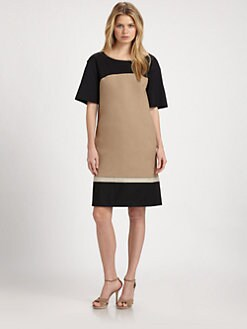Lafayette 148 New York - Colorblocked Stretch-Cotton Dress