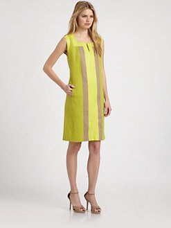 Lafayette 148 New York - Leather-Trimmed Linen Dress