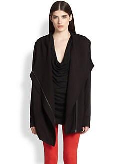 Helmut Lang - Villous Asymmetrical Draped Knit Jacket