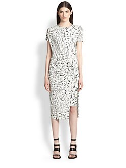 Helmut Lang - Strata Printed Twist-Front Stretch Jersey Dress