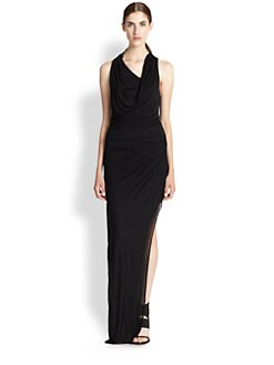 Helmut Lang - Asymmetrical Draped Jersey Maxi Dress