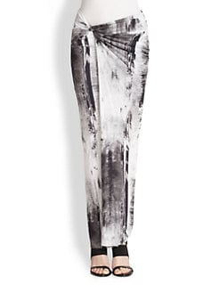 Helmut Lang - Tidal Printed Twisted Maxi Skirt