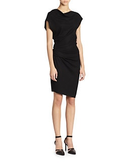 Helmut Lang - Sonar Asymmetrical Draped Wool Dress