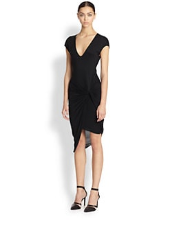 Helmut Lang - Asymmetrical Draped Knotted Jersey Dress