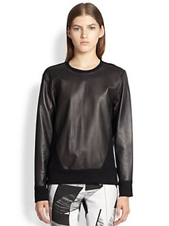 Helmut Lang - Ink Leather & Wool Top