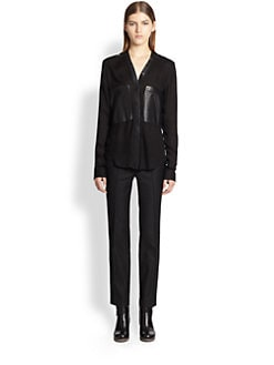 Helmut Lang - Feathery Jersey Leather-Pocket Shirt