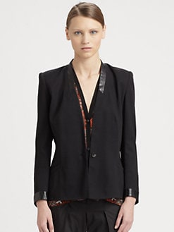 Helmut Lang - Leather-Trim Fitted Jacket