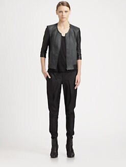 Helmut Lang - Glossy Leather-Trim Bomber Jacket