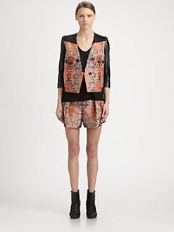 Helmut Lang - Medallion Leather-Trim Jacquard Jacket
