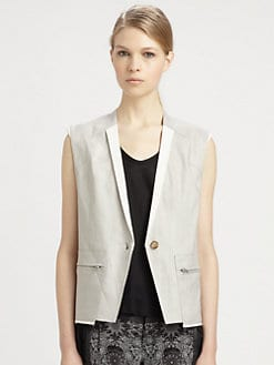 Helmut Lang - Gloss Linen-Twill Vest