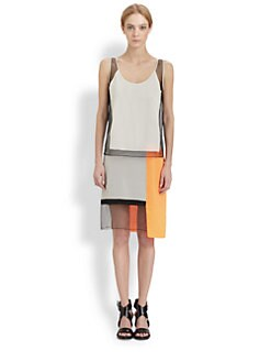 Helmut Lang - Chroma Draped Colorblock Dress