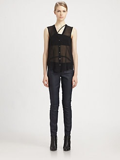 Helmut Lang - HELMUT Helmut Lang Ghost Sheer Silk Top
