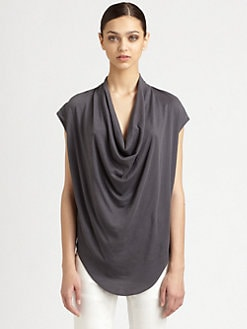Helmut Lang - Feather Jersey Draped Top