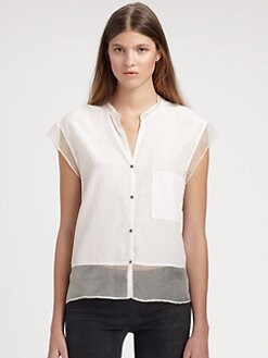 Helmut Lang - Sheer-Trimmed Silk & Cotton Shirt