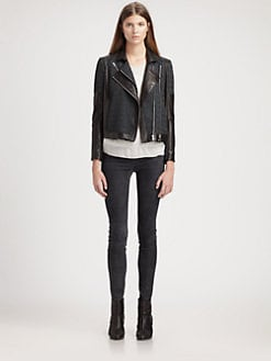 Helmut Lang - Peak Jacquard-Paneled Leather Jacket