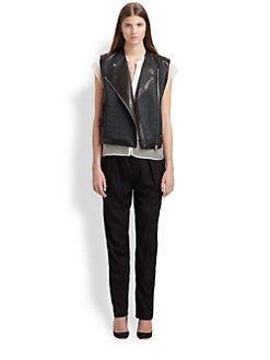 Helmut Lang - Jacquard & Leather Vest