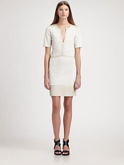 Helmut Lang - Motion Leather-Trimmed Crepe Dress