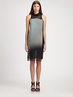 Helmut Lang - Mercury Silk Chiffon Ombré Dress