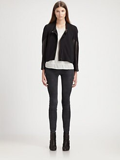 Helmut Lang - Motor Leather-Trimmed Cotton Terry Jacket