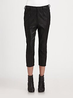 Helmut Lang - Brushed Leather Slouchy Cropped Pants