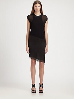 Helmut Lang - Nebular Jersey & Matte Satin Dress