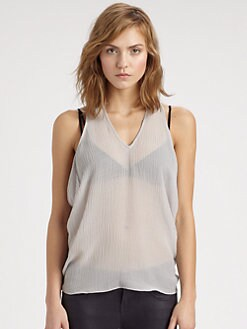 Helmut Lang - Breeze Draped Crinkled Chiffon Top
