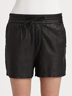 Helmut Lang - HELMUT Helmut Lang Leather Drawstring Shorts