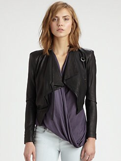 Helmut Lang - HELMUT Helmut Lang Cropped Leather Jacket