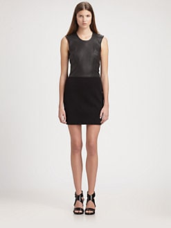 Helmut Lang - HELMUT Helmut Lang Leather & Jersey Combo Dress