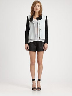 Helmut Lang - HELMUT Helmut Lang Leather-Trimmed Denim Jacket