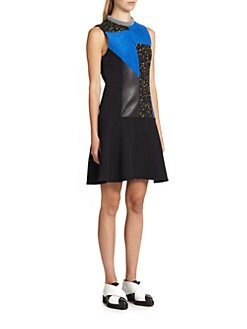 Proenza Schouler - Textured Leather Patchwork Dress