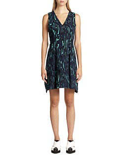 Proenza Schouler - Flocked Printed Crepe Dress
