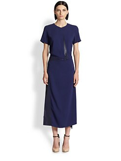 Reed Krakoff - Asymmetrical Leather-Trimmed Dress