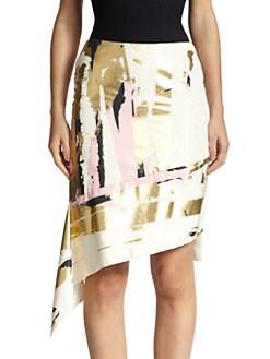 Reed Krakoff - Foiled Asymmetrical Silk Skirt