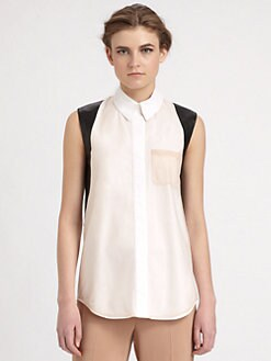 Reed Krakoff - Leather-Trimmed Top