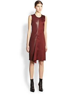 Reed Krakoff - Leather-Panel Piqu&eacute; Dress