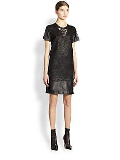 Reed Krakoff - Lace & Leather T-Shirt Dress
