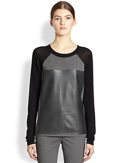 Reed Krakoff - Leather-Front Baseball Sweater